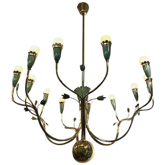 Arredoluce 1950s Brass and Green Enamel Chandelier by Angelo Lelli For Sale