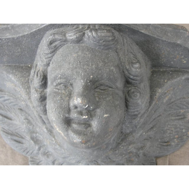 Cast Iron Cast Iron Wall Sconce Planter With Cherub Face For Sale - Image 7 of 8