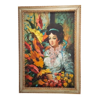J Adamol Women Portrait Oil on Canvas Painting For Sale