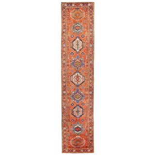 Antique Persian Heriz Runner Rug With Large Multi-Colored Medallions For Sale