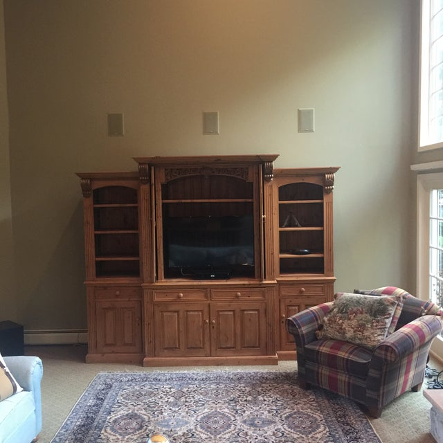 Late 19th Century Vintage Hand Carved 3 Piece Pine Library Wall Unit For Sale - Image 5 of 6