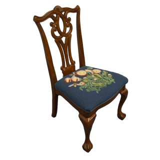 Universal Furniture Cherry Traditional Chippendale Style Dining Side Chair For Sale