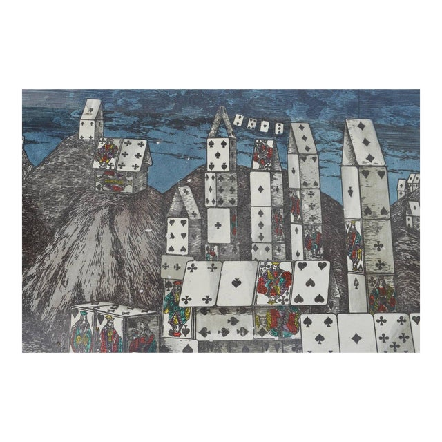 Chic City of Cards Tole Tray by Piero Fornasetti For Sale