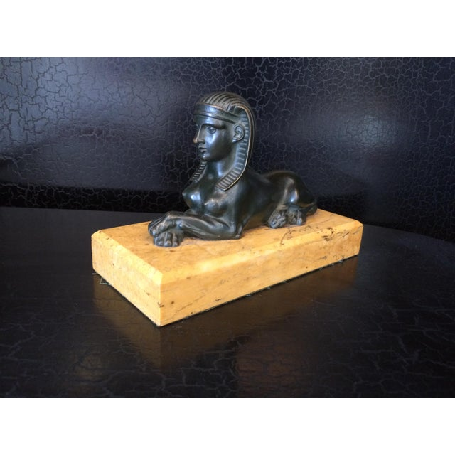Egyptian Revival Grand Tour Bronze Sphinx on Marble Base For Sale - Image 3 of 10