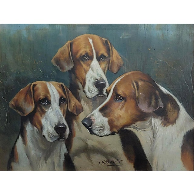 English Traditional John Arnold Alfred Wheeler -Three English Fox Hounds -19th Century Oil Painting For Sale - Image 3 of 7