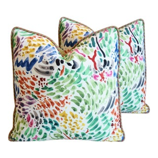 """Clarence House Fabric & Scalamandre Mohair Feather/Down Pillows 21"""" Square - Pair For Sale"""