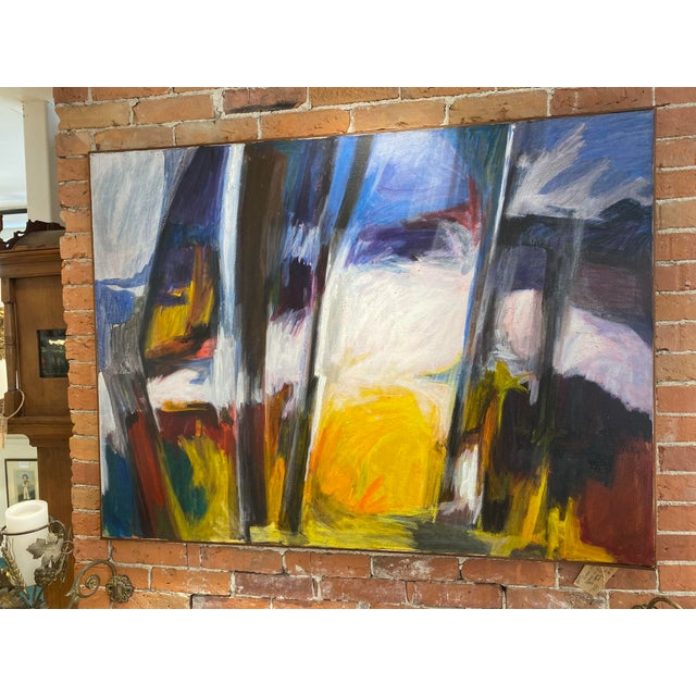 Large Oil on Canvas with slight frame painted by Gerald Roy in the Late 1960's or Early 1970's in San Francisco. He is...