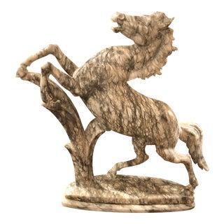 Vintage Italian Alabaster Horse Sculpture For Sale
