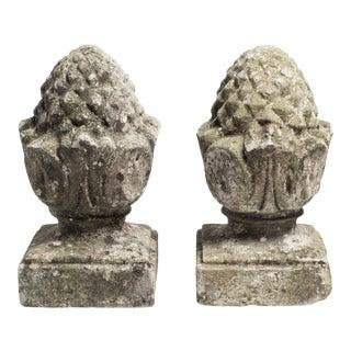 Limestone Pineapple Garden Finials - A Pair For Sale