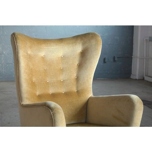 Fritz Hansen Fritz Hansen Model 1672 Highback Mohair Lounge Chair Danish Midcentury 1940's For Sale - Image 4 of 14