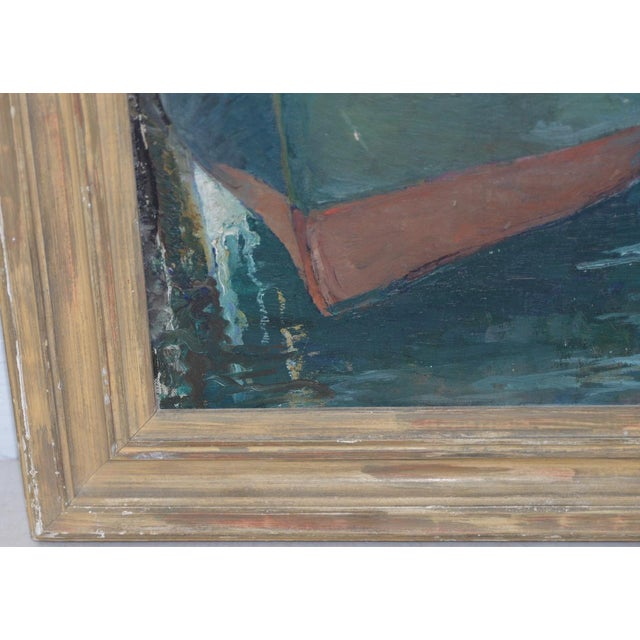 """Unidentified Impressionist """"Starboard Bow at Harbor"""" Oil Painting C.1940s For Sale - Image 4 of 9"""