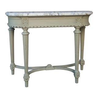Frenchy Marble Top Console Table With Drawer For Sale