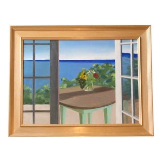"""Original Vintage """"Room With View"""" Painting Framed For Sale"""