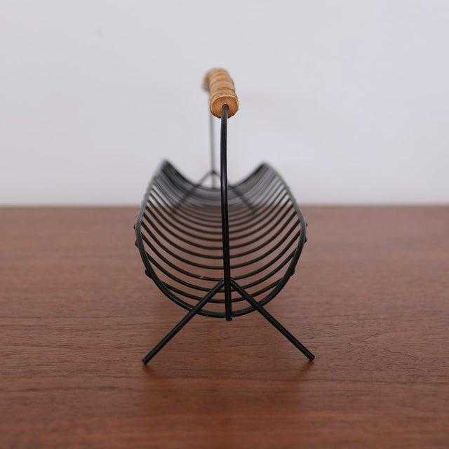Wire Fruit Basket With Cane Handle, 1950s For Sale - Image 4 of 7
