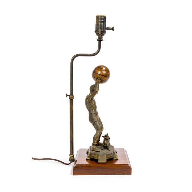 Traditional Circus Jester Sculpture With Walnut Ball Lamp For Sale - Image 3 of 13