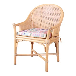 McGuire Hollywood Regency Organic Modern Bamboo and Cane Club Chair For Sale