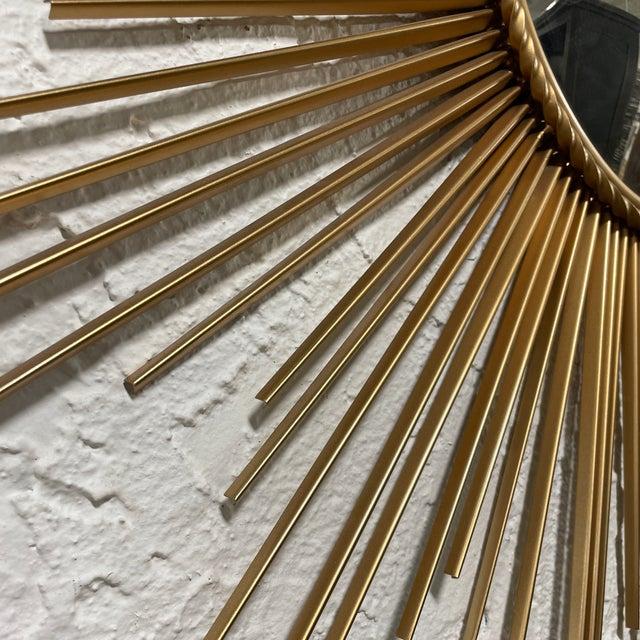 Mid-Century Modern Mid-Century Chaty Vallauris-Style Gilt Metal Sunburst Wall Mirror For Sale - Image 3 of 9