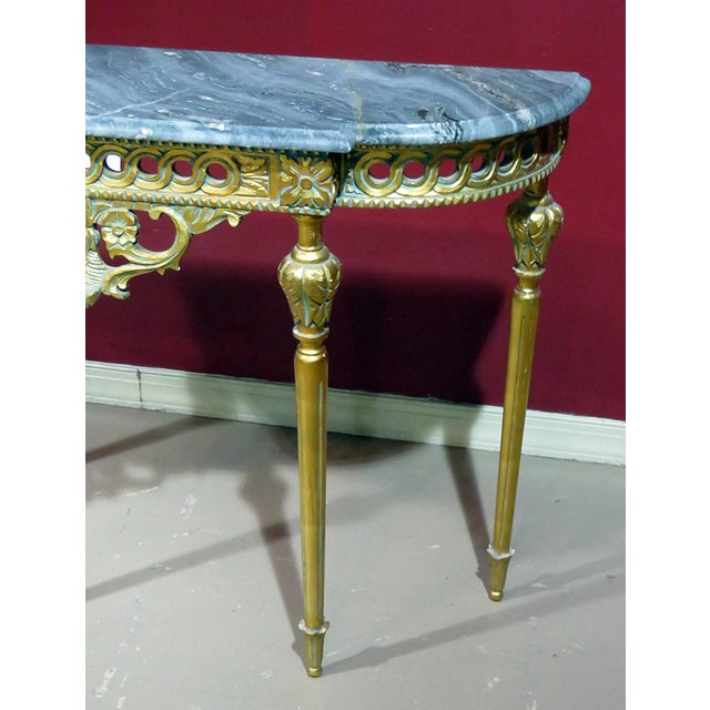 Regency Regency Style Marble Top Demi-Lune Console Table For Sale - Image 3 of 10