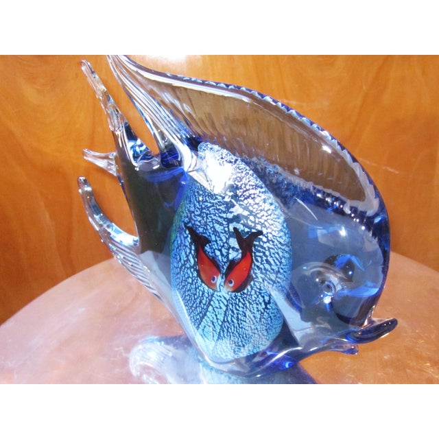 Blue 1960s Murano Glass Italian Art Glass Blue and Red Figural Fish Sculpture Object For Sale - Image 8 of 11