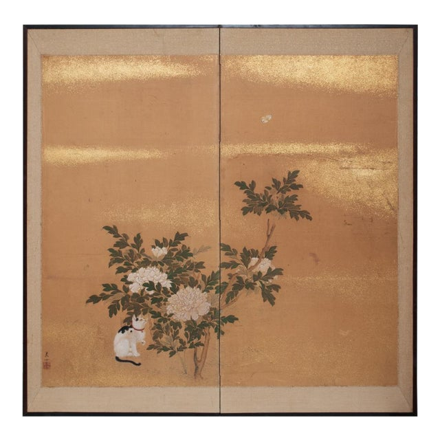 1880's Vintage Japanese Yamato-E Byobu Screen For Sale