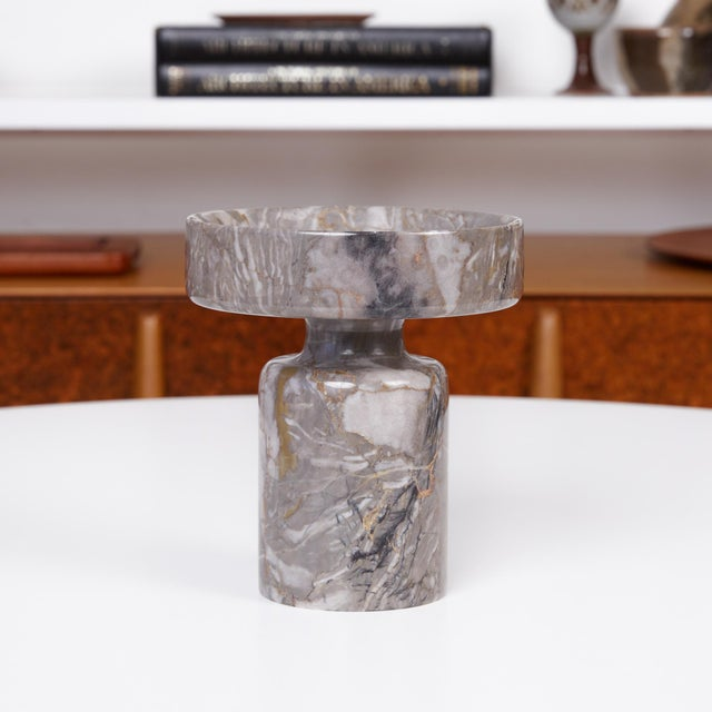 Double sided marble object by Angelo Mangiarotti for Knoll, Italy, c.1960s. The gray marble sculptural object features...