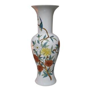 18th C. Famille Vert Yellow Blue Green Antique Asian Japanese Imari Vase With Floral and Birds For Sale