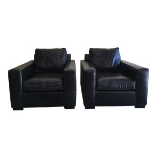 A Pair of Mitchell Gold Jean Luc Leather Chair