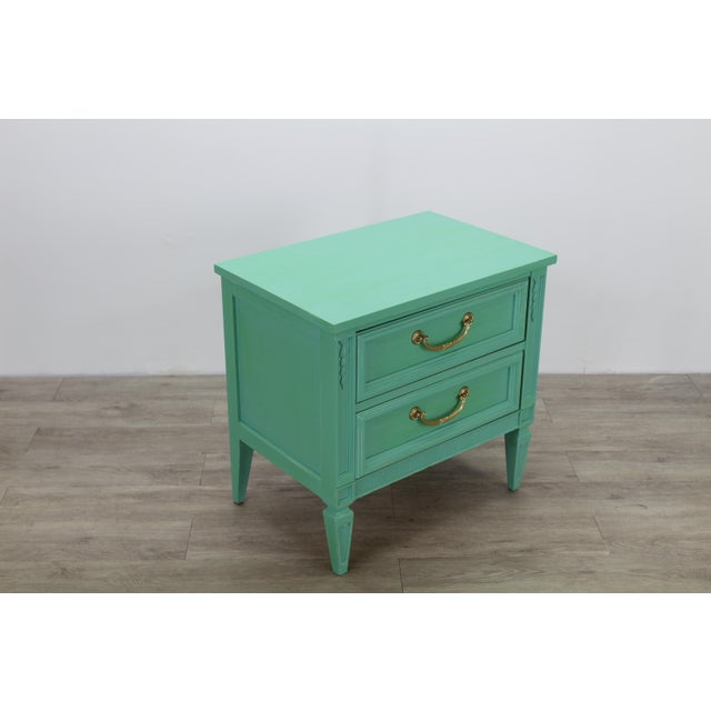 Metal Mid Century Neoclassical Style Nightstand, Green Nightstand For Sale - Image 7 of 11