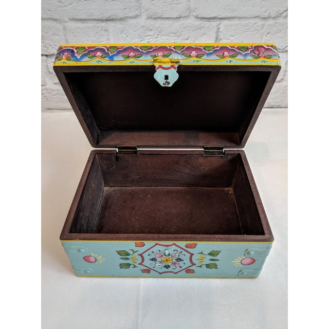 Vintage Mid-Century Folk Art Painted Wooden Box For Sale - Image 9 of 11