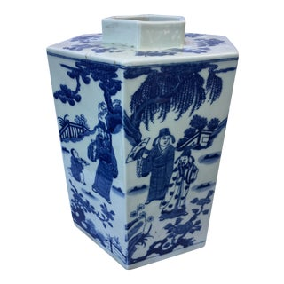 Chinese Blue & White Hexagon Vase For Sale