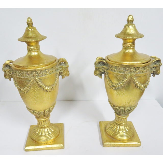 Late 20th Century Neoclassical Gilt Carved Urns - a Pair For Sale - Image 5 of 7