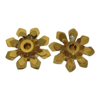 Brass Lotus Candle Holders - a Pair For Sale