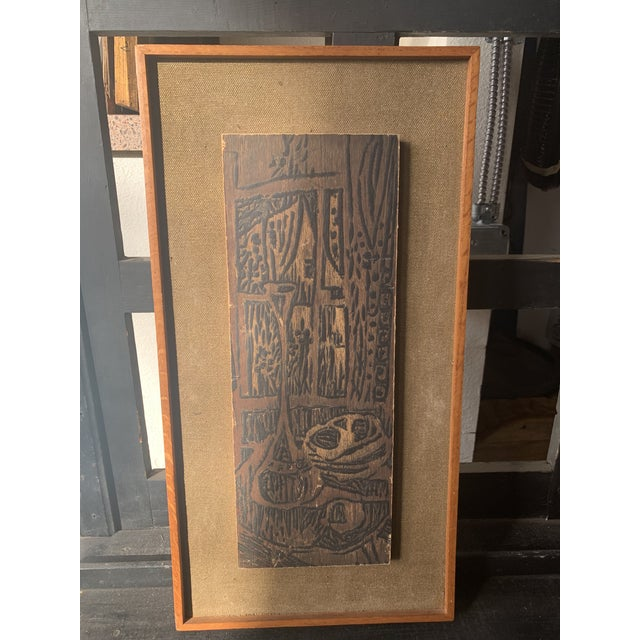 Mid 20th Century Modernist Woodcut on Linen, Framed For Sale In Seattle - Image 6 of 6