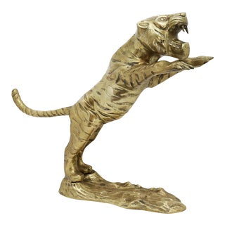 Late 20th Century Brass Tiger Figurine For Sale
