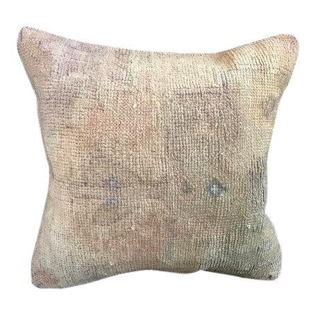 1960s Art Nouveau Handwoven Oushak Wool Pillow Case For Sale