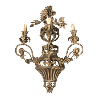 Vintage Italian Three Lights Wrought Iron Sconce For Sale