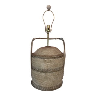 1960s Vintage Bamboo Asian Rice Basket Lamp For Sale