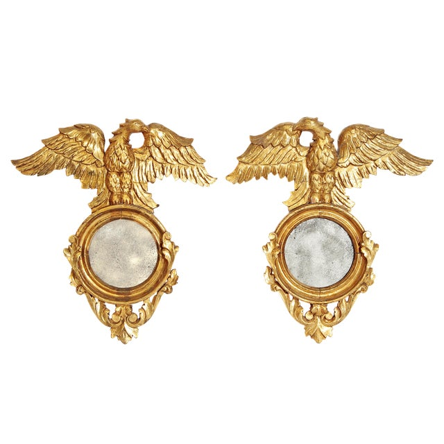 Pair of Giltwood Mirrors With Eagles, Wings Outstretched For Sale
