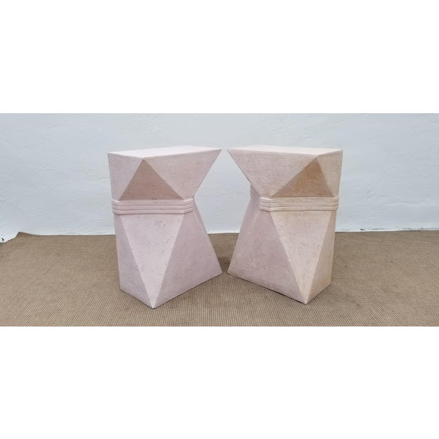 Abstract 1970s Vintage Sculptural Geometric Plaster Pedestals- A Pair For Sale - Image 3 of 13