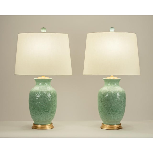 Art Deco Mid-Century Porcelain on Gold Leaf Base Table Lamps - a Pair For Sale - Image 3 of 10