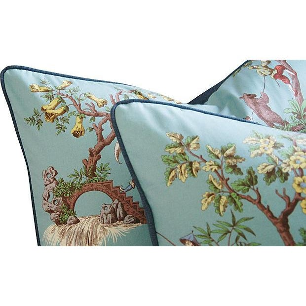 Powder Blue Scalamandré Pillows - A Pair - Image 4 of 7
