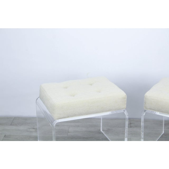 2010s Pair of Cream Waterfall Lucite & Chenille Benches For Sale - Image 5 of 8