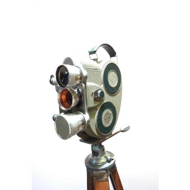 1950s 1956 Austrian Motion Picture Camera on Wood Tripod Vintage Perfect Display For Sale - Image 5 of 12
