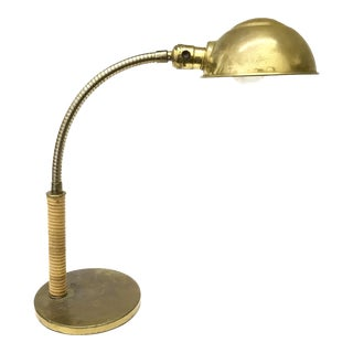 Paavo Tynell Style Brass & Cane Desk Lamp