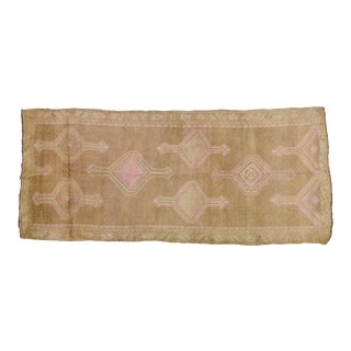 "1950s Traditional Turkish Taupe and Pink Kurdish Spun Wool Rug - 5'5""x12'2"" For Sale"