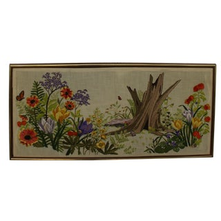 Vintage Large Embroidery Scene Framed For Sale