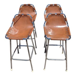 1960s Swiss Mountain Lodge Bar Stools - Set of 4 For Sale