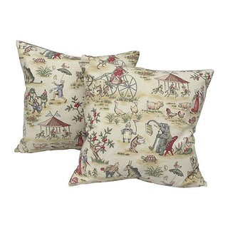 English Carnival Pillows - Pair For Sale