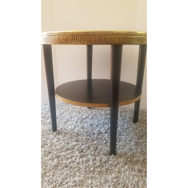 Art Deco Vintage Egyptian Revival Brass Top Double Tiered Accent Table For Sale - Image 3 of 11