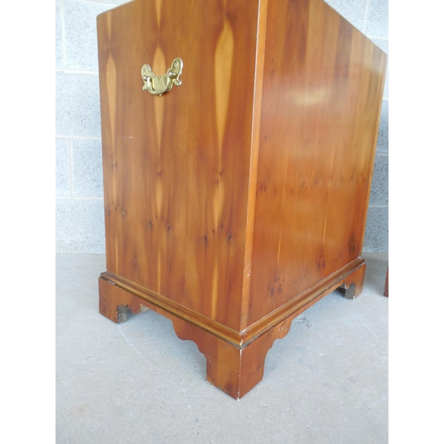Baker Furniture Chippendale Style Yew Wood Night Stands - a Pair - Image 6 of 11